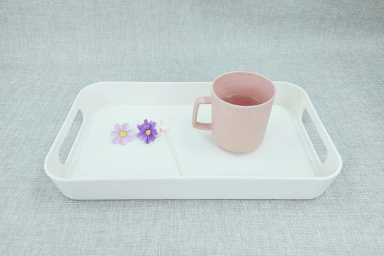 Bamboo Fiber Rectangle Serving Food Tray for Home Use