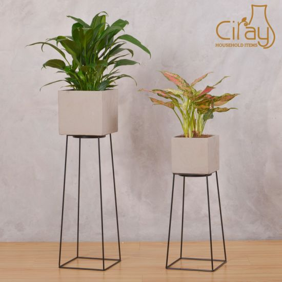 Wholesale Square Gray Unglazed Cement Flower Planter Pots with Black Metal Stand