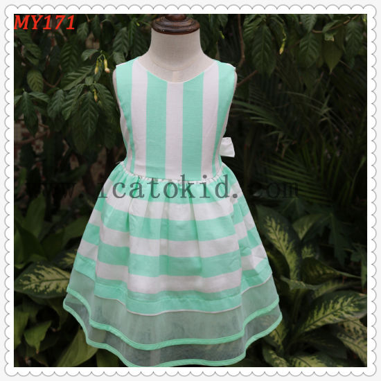 Tiffanly Green Orangza Tulle Dress Casual Children Clothing for Party Dress