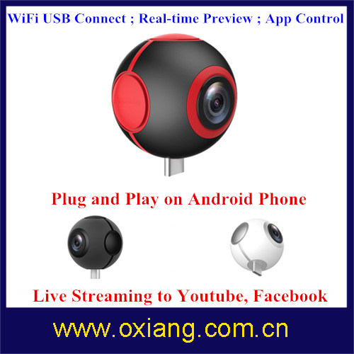 Pano Live View WiFi 720 Degree Vr Camera Double Lens Vr Camera pictures & photos