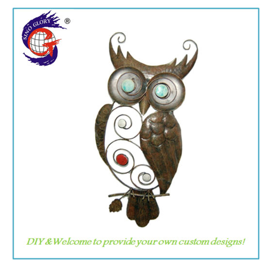 Custom Hand Painted Metal Wall Decoration Owl Wall Hanging Home Decoration Wall Art