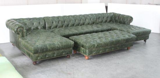 Green Leather KTV Sofa, Button Leather Sofa, Classic L Shape Sofa With  Ottoman Tde 02