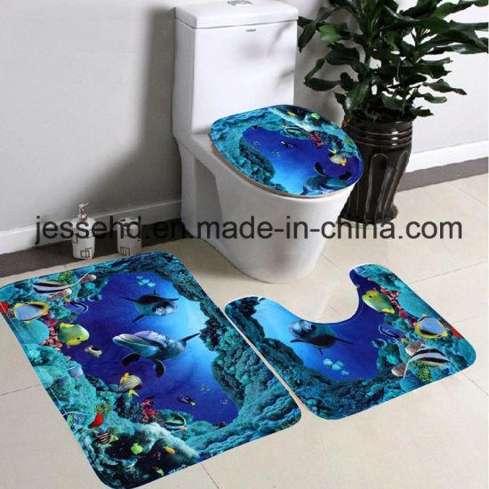 Hot Selling Waterproof and Non-Slip Floor Bath Mat 3-Piece Bathroom Mat Set