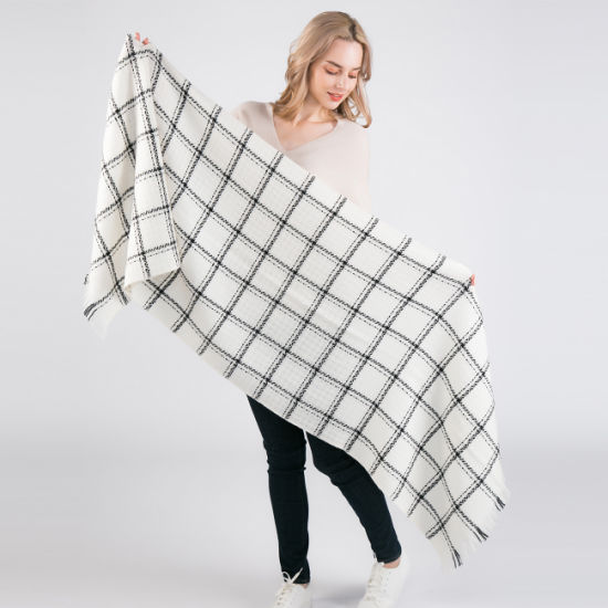 100% Royal Cashmere Stylish Woven Regular Plaid Design Ladies Scarve