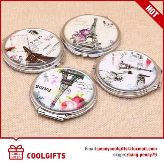 Cute Epoxy Sticker Double Side Stainless Folding Cosmetic Mirror pictures & photos