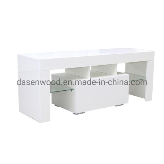 Modern Simple Design White Melamine Board TV Stand with Glass