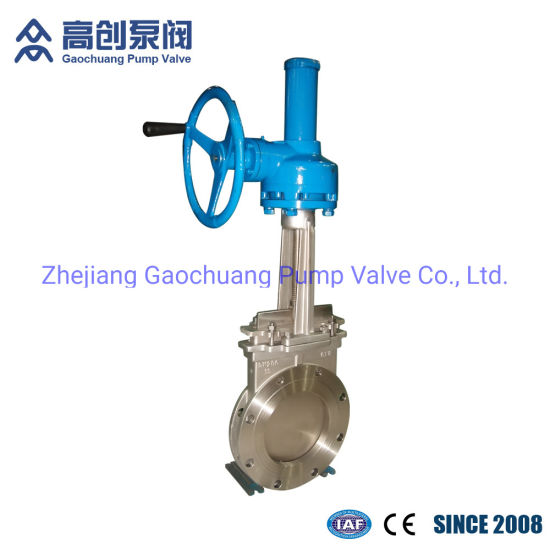 Bevel Gear Stainless Steel JIS Flange Industrial Knife Edge Gate Valve