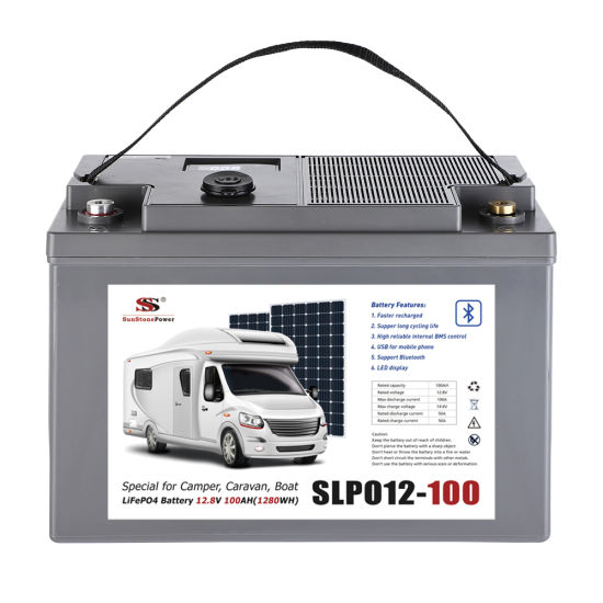 LiFePO4 12V 100ah RV Camper Battery Caravan Battery Marine Transport Fishing Boat Battery Wind Solar Battery with LED Display and USB Interfaces
