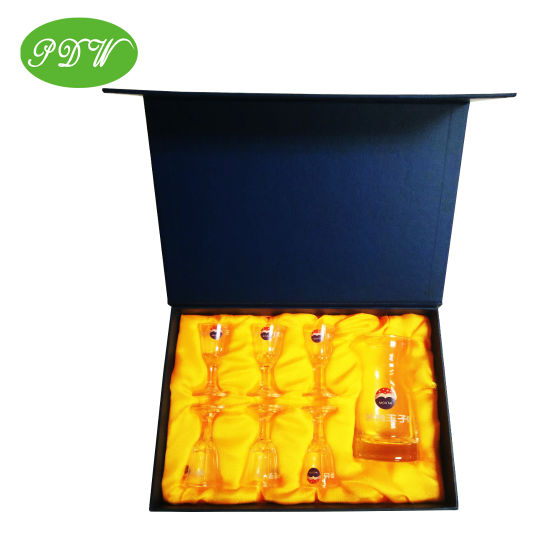 Custom Luxury Wine Glass Package Gift Box with Silk Satin Inside