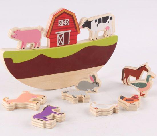 Kids Noah's Ark Animal Block Baby Puzzle Children Toys Wooden Toy