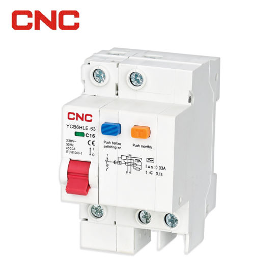 CNC Ycb6hle-63 18mm RCBO 16A 1p+N 6ka Residual Current Circuit Breaker with Over Current and Leakage Protection