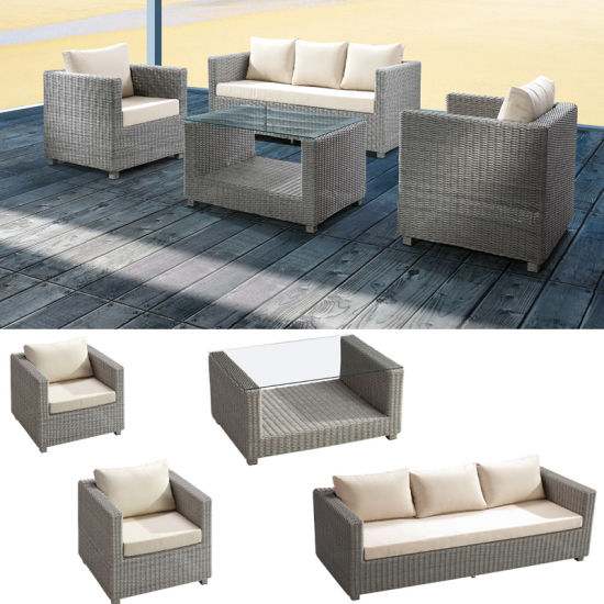 Wicker Outdoor Furniture Patio Lounger Sets Balcony Sofa 3+1+1 Table