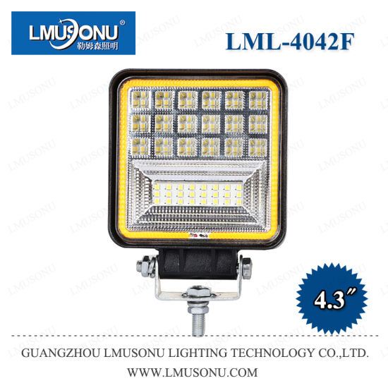 Lmusonu New LED Work Light 4042f 4.3 Inch 126W with Yellow Diaphragm/Aperture/Halo/Ring