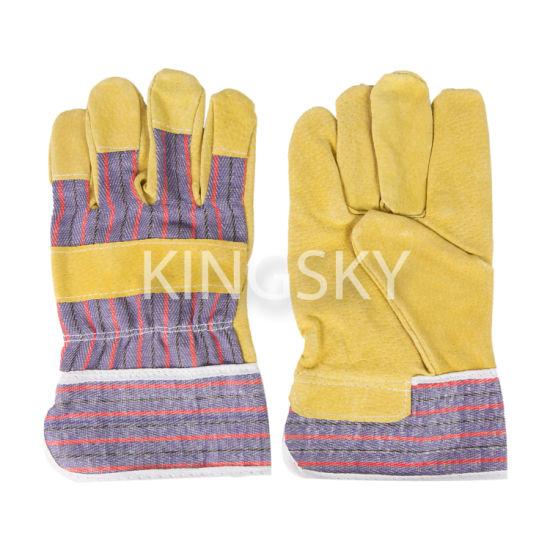 Pig Split Leather Palm Stripe Cotton Back Work Glove - 3590