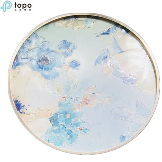 Decorative Birds and Flower Art Wall Circle Glass-Painting (MR-YB6-2054A)