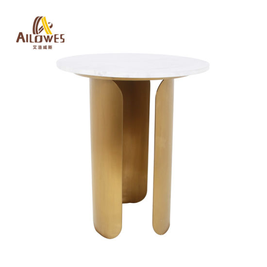 Dining Room Furniture Marble Top Gold Stainless Steel Coffee Shop Side Tea Table Set