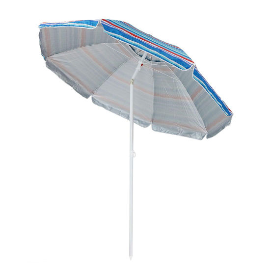 Strong Outdoor UV Beach Sun Umbrella with Custom Logo Printing 180/200 Cm for Promotion Advertising and Street Display