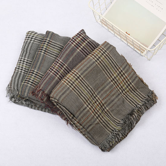 Cotton, Linen, Plaid, Wool, Sunscreen Scarf and Shawl