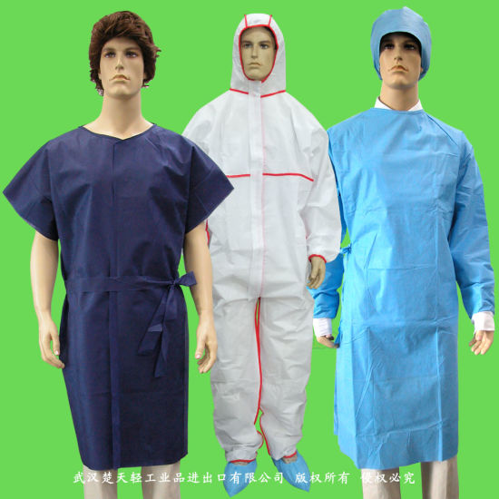 Medical Waterproof/Plastic CPE/Poly/PE/Scrub/Operation/PP/SMS Nonwoven Disposable Protective Isolation Surgical Gown for Doctor/Surgeon/Patient/Visitor/Hospital