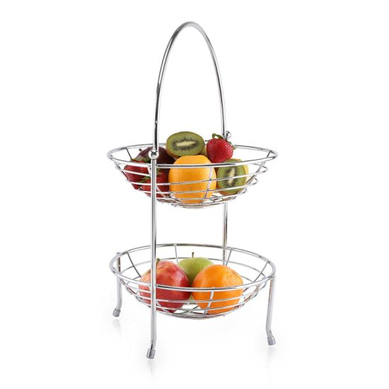 Double Tiers Metal Fruit Basket With Arched Hand Shank