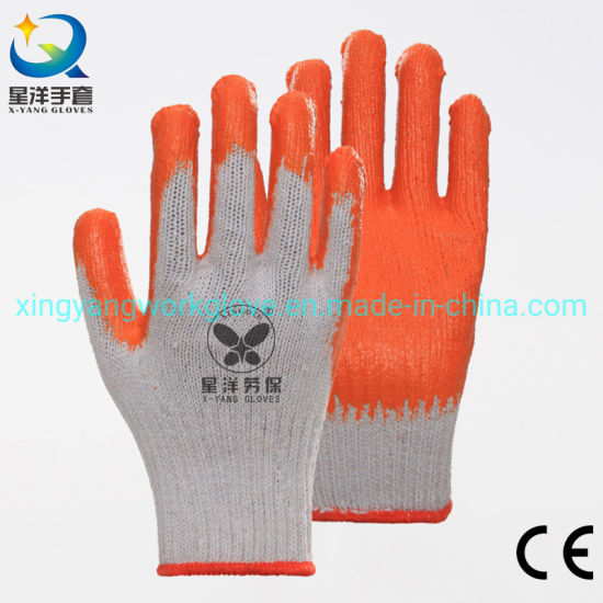 7g Polycotton with Orange Latex Smooth Coated Safety Work Gloves with Ce Certificated