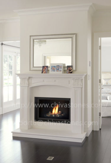 Fp018 Modern White Marble Fireplace Surround Hand Carved Indoor Stone Mantel China Made In