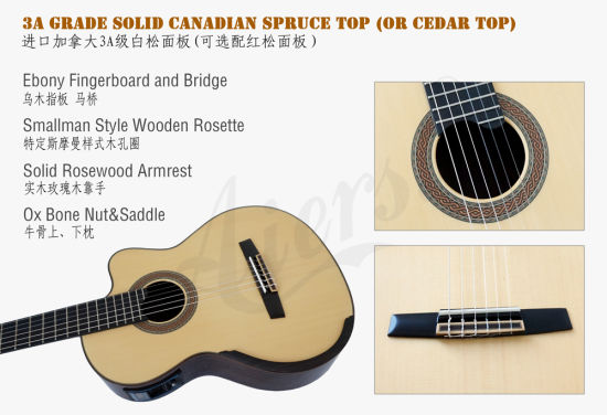 Aiersi Brand Electrical Cutway Smallman Classical Guitar (SC098SCE) pictures & photos