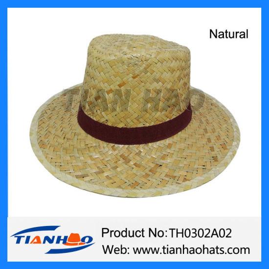 6cbe269a62421 China Mens Straw Trilby Fedora Summer Sun Hat - China Men Straw Hat ...