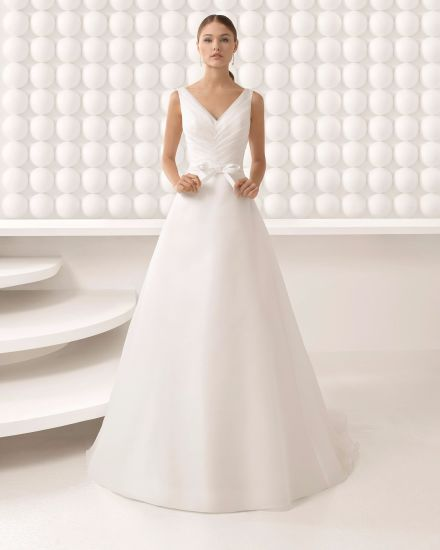 Custom Make Simple V Neck Pleat Organza Bridal Dress Wedding Gown