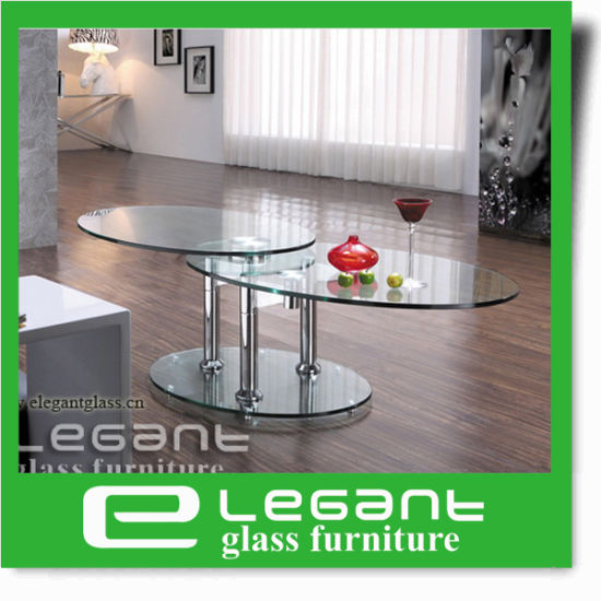 Rotatable Stainless Steel Coffee Table With Tempered Glass Top