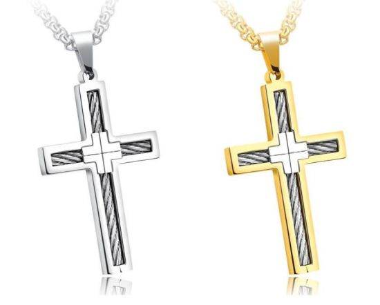 China fashion punk male cross jesus pendants silver gold stainless fashion punk male cross jesus pendants silver gold stainless steel cable wire jesus rope cross pendant necklaces jewelry for men aloadofball Gallery