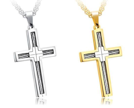 China Fashion Punk Male Cross Jesus Pendants Silver Gold Stainless ...