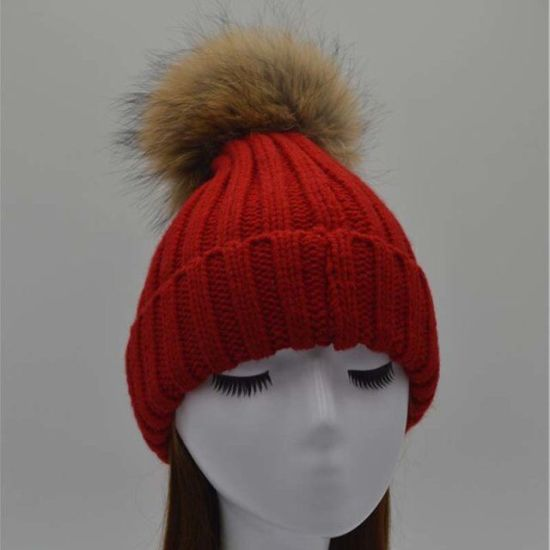 Animal Fur Ball Hat Fluffy Raccoon POM Knitted Hat Beanies