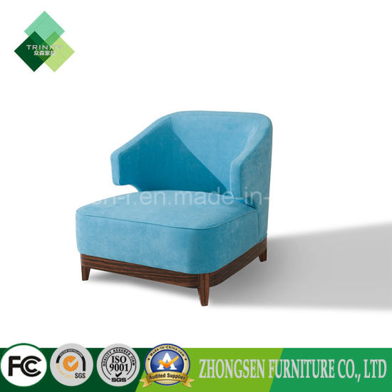 Latest Living Furniture Blue Upholstered Sofa Single Chair