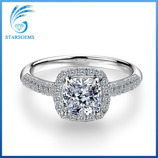 7X7mm Cushion Cut White Moissanite Diamond Silver Jewellery Ring for Engagement pictures & photos