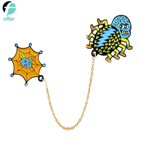 China Spider Web Halloween Emoji Hunting Web Orb Cobweb Enamel Lapel