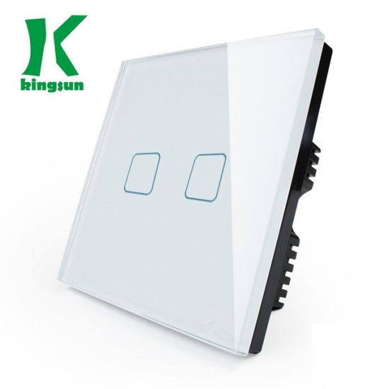 UK Gold (2G1W) New Square Glass Panel Light Wall Touch Switch