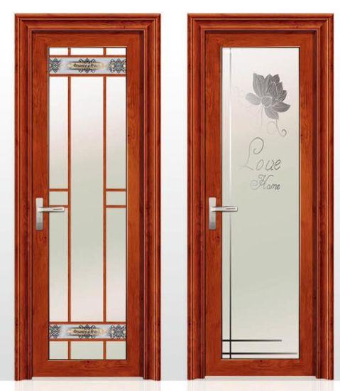 China Wooden Color Designed Glass Aluminum Opening Door For Bathroom