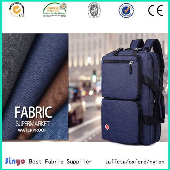 Hot Sale PU Coated Polyester Linen Look 600d Cationic Fabric for Luggage
