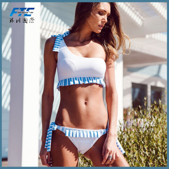 2019 Bikini Striped Ruffle Special One Shoulder Swimsuit