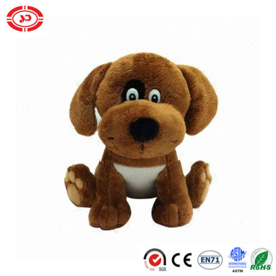 Plush Dog Stuffed Soft Brown with Weird Eyes Cute Toy