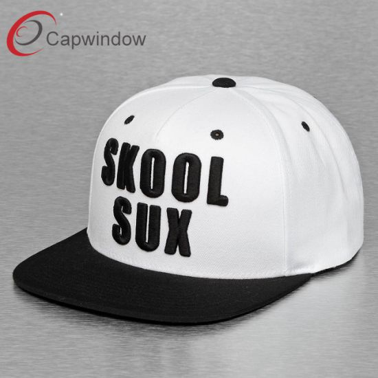 Black Promotonal Fashion 5 Panel Sport Snapback Hat with 3D Embroidery (65050099) pictures & photos