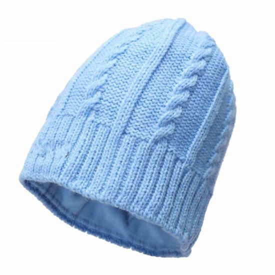 ad1b78fb5ba12 Man Women Acrylic Winter Slouchy Warm Blank Knitted Blue Beanie Hat