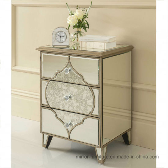 Antique Golden Line Mirrored Side Table, Home Goods Mirrored Side Table