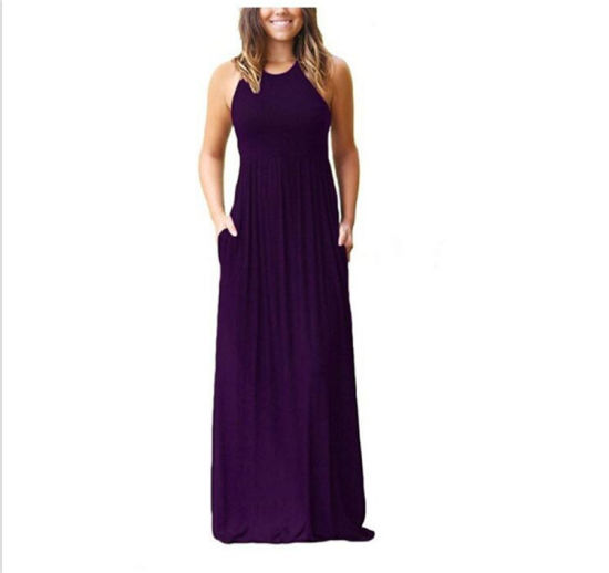 New Product Loose Plain Maxi Dresses pictures & photos