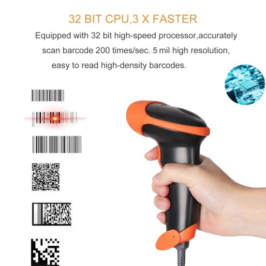 Minjcode Hnadheld Qr Barcode Scanner, 4 Colors Optional, Read Every Code on  PC/iPhone/Cellphone, Mj2818