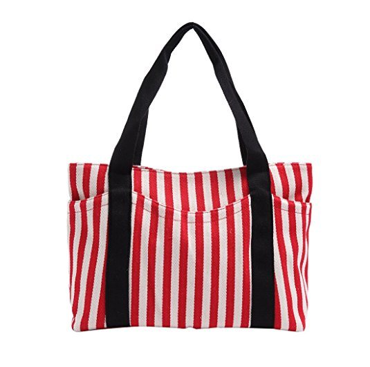 Striped Cotton Heavy Canvas Shoulder Hand Bag for Women