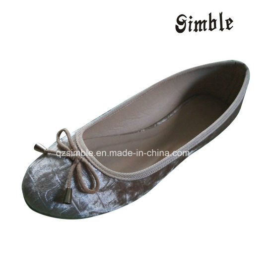 New Designs Girl Women Flat Ballerinas Shoes with Bowknot Upper