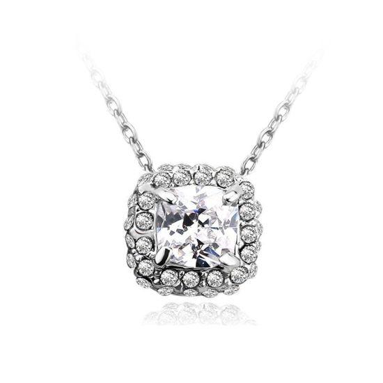Wholesale 925 Silver &CZ Square Design Necklace Fashion Jewelry Jewellery