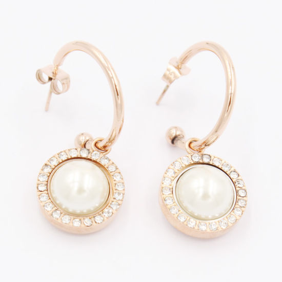 China 316 High Quality Stainless Steel Jewelry Crystal Pearl Rose